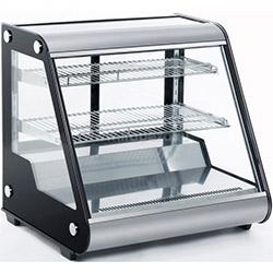Витрина холодильная, 130 л., 2 полки, нержавеющая сталь, черные боковины