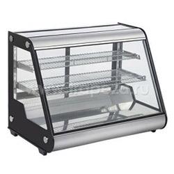 Витрина холодильная, 160 л., 2 полки, нержавеющая сталь, черные боковины