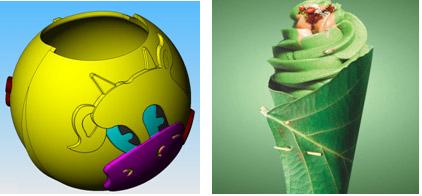 Рис. 3. Необычная упаковка: съедобный вафельный шарик и вафельный листик
