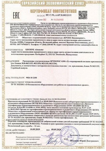 Сертификация накладных расходомеров OPTISONIC 6300