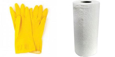 Перчатки хозяйственные, бумажные полотенца рулонные