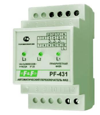 Автоматический переключатель фаз PF 431.  Он предназначен для надежной защиты техники от перепадов напряжения на...