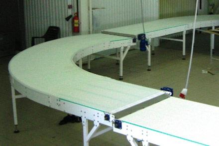 конвейеры поворотные с модульной лентой